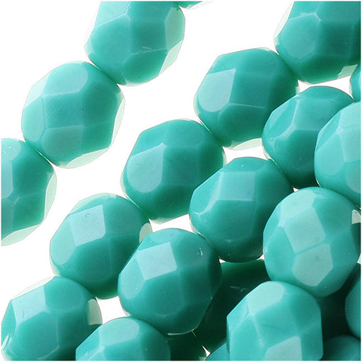 Czech Fire Polished Glass Beads 6mm Round 'Persian Turquoise' (25)