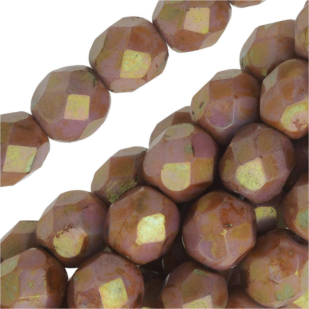 Czech Fire Polished Glass Beads 6mm Round 'Opaque Rose/Gold Topaz Luster' (25)