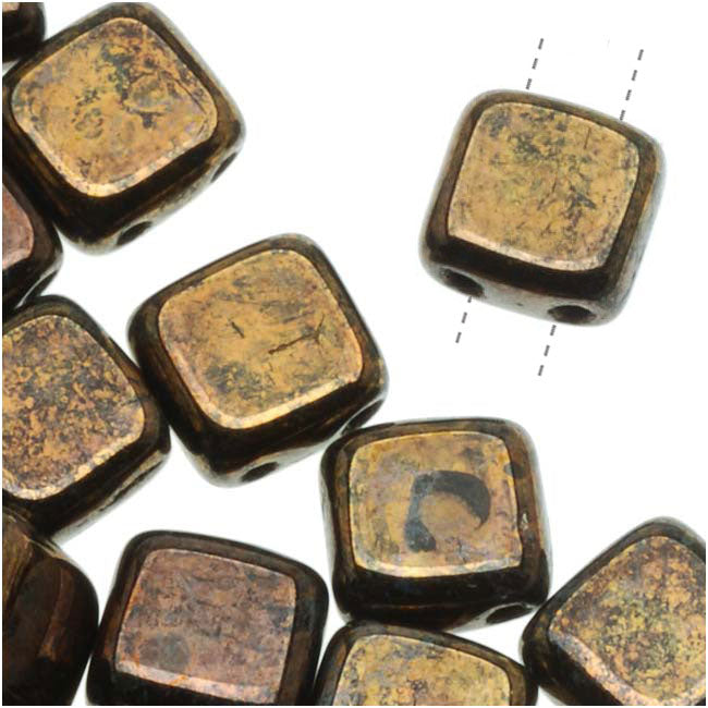 CzechMates Glass 2-Hole Square Tile Beads 6mm 'Jet Bronze Picasso' (1 Strand)
