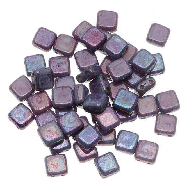 CzechMates Glass 2-Hole Square Tile Beads 6mm 'Opaque Amethyst Luster' (1 Strand)
