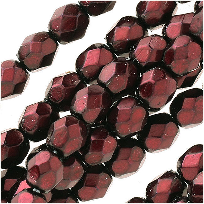 Czech Fire Polished Glass Beads 4mm Round Full Pearlized Coat - Garnet (50)