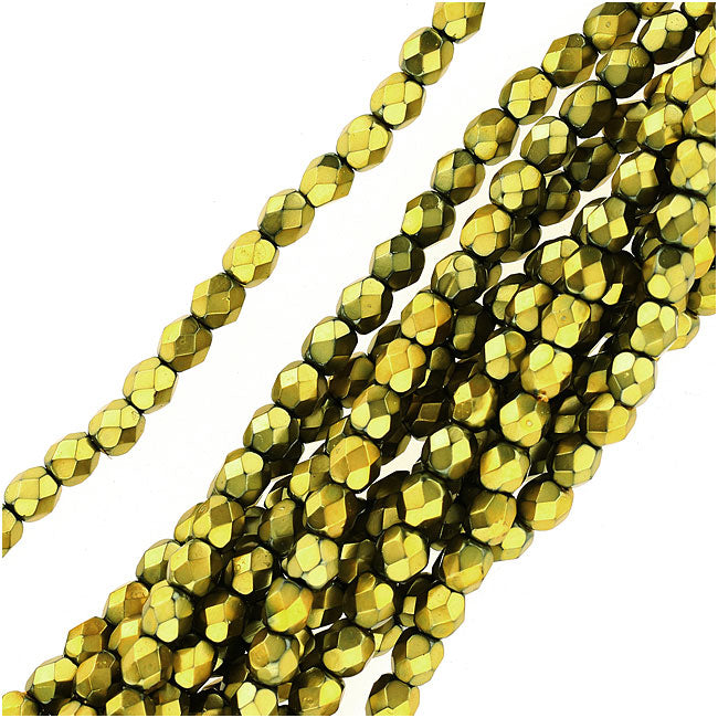 Czech Fire Polished Glass Beads 4mm Round Full Pearlized - Lime On Jet (50)