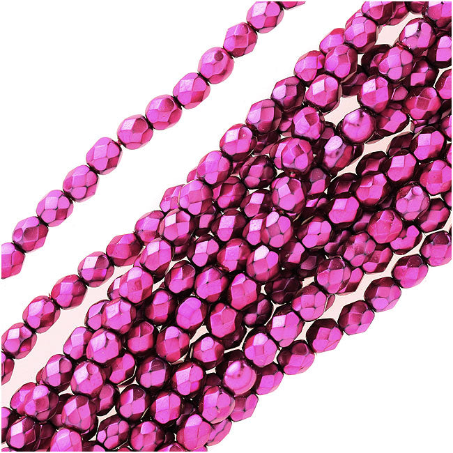 Czech Fire Polished Glass Beads 4mm Round Full Pearlized - Hot Pink On Jet (50)