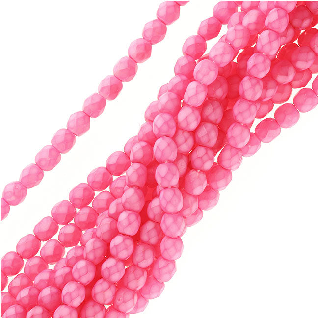 Czech Fire Polished Glass Beads 4mm Round - Plumeria Pink (50)