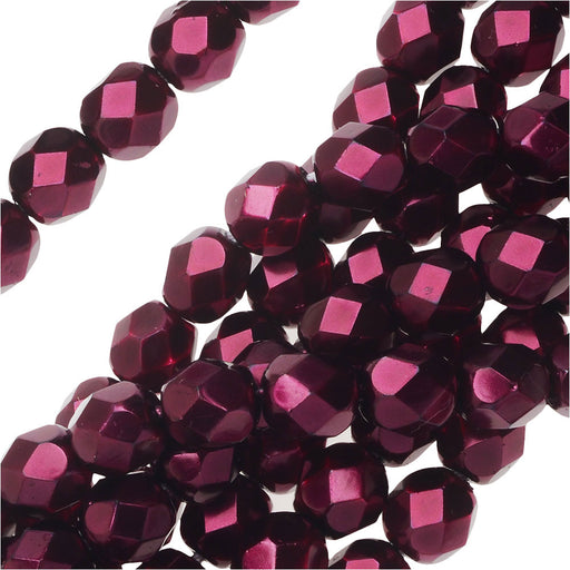 Czech Fire Polished Glass Beads 6mm Round Full Pearlized - Garnet (25)