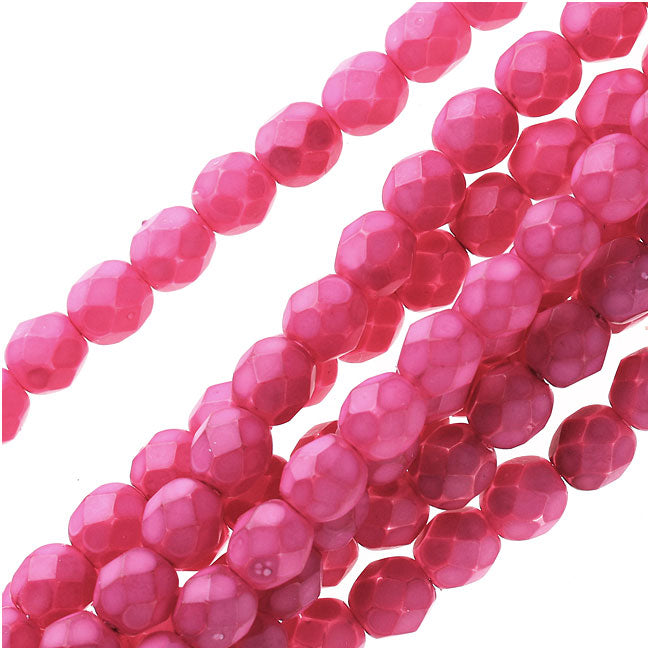 Czech Fire Polished Glass Beads 6mm Round - Plumeria Pink (25)