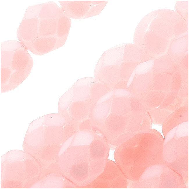 Czech Fire Polished Glass Beads 6mm Round - Matte Light Rose (25)