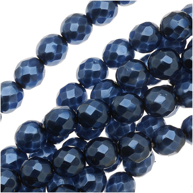 Czech Fire Polished Glass Beads 8mm Round Full Pearlized - Navy Blue (25)