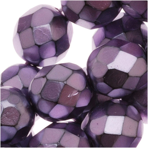 Czech Fire Polished Glass Beads 8mm Round Full Pearlized - Lilac On Jet (25)