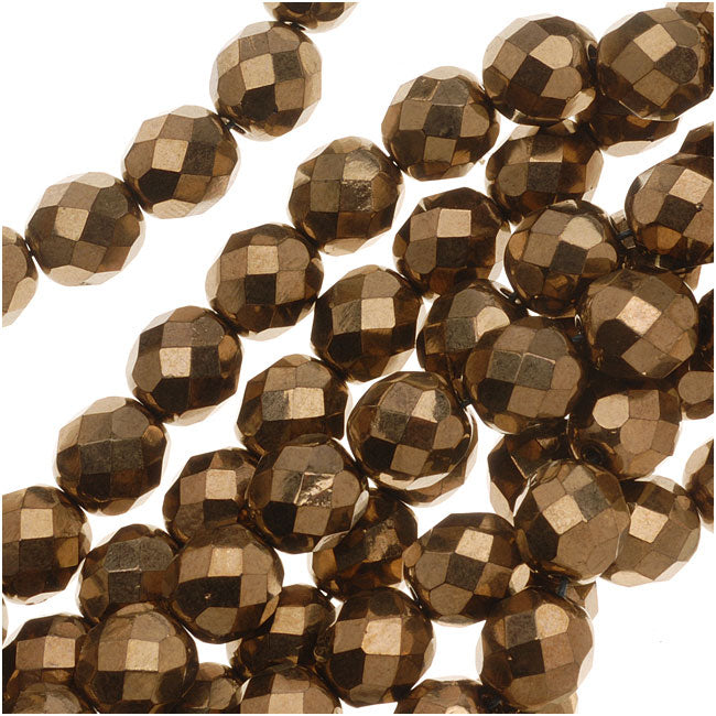 Czech Fire Polished Glass Beads 8mm Round - Metallic Bronze (25)
