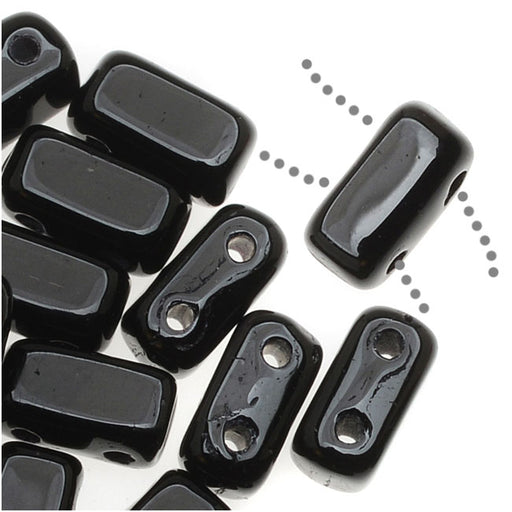 CzechMates Glass 2-Hole Rectangle Brick Beads 6x3mm - Jet Black (1 Strand)