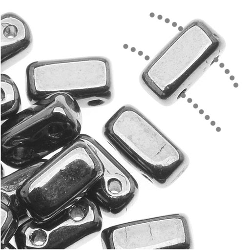CzechMates Glass 2-Hole Rectangle Brick Beads 6x3mm - Silver (1 Strand)