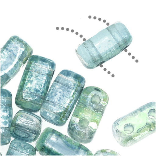 CzechMates Glass 2-Hole Rectangle Brick Beads 6x3mm - Dual Lustered Blue / Green, 1 Strand
