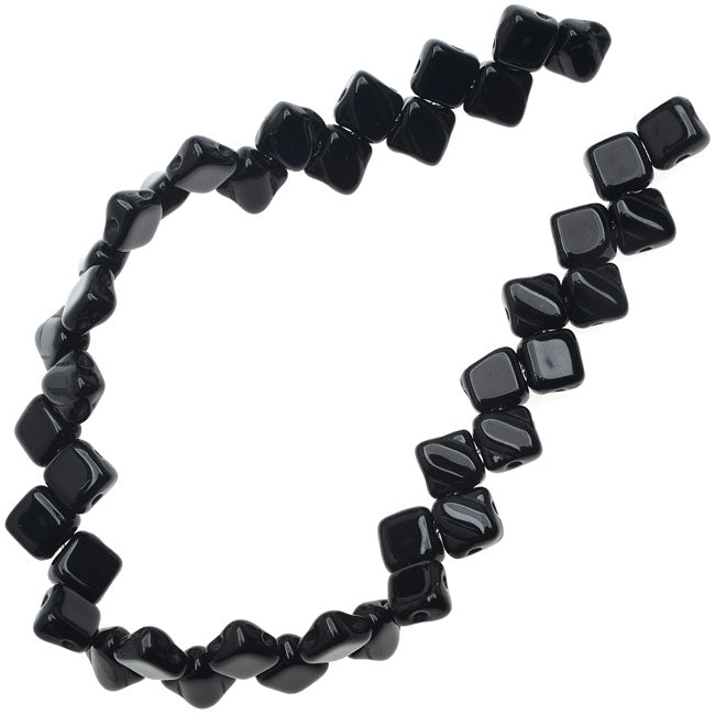 Czech Glass 2-Hole Silky Beads, 6mm Diamond Shape, 40 Pieces, Jet Black