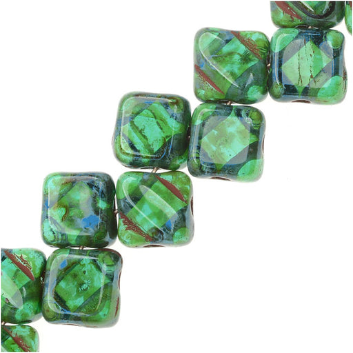 Czech Glass 2-Hole Silky Beads, 6mm Diamond Shape, 40 Pieces, Teal Picasso
