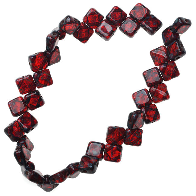 Czech Glass 2-Hole Silky Beads, 6mm Diamond Shape, 40 Pieces, Ruby Red Picasso