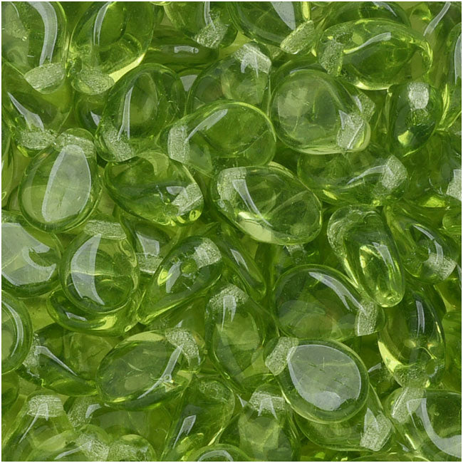 Czech Glass Pip Beads, Smooth Drops 7x5mm, 50 Pieces, Olivine Green
