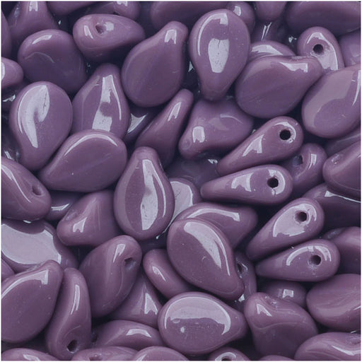 Czech Glass Pip Beads, Smooth Drops 7x5mm, 50 Pieces, Purple