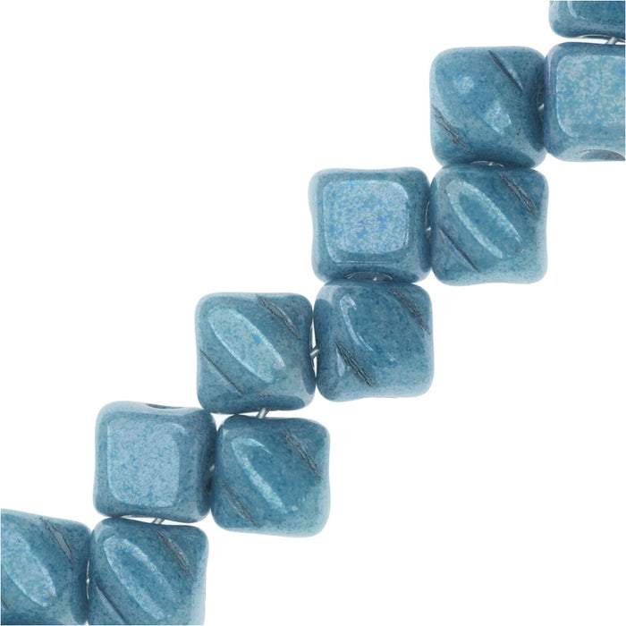 Czech Glass Mini 2-Hole Silky Beads, 5mm Diamond Shape, 40 Pieces, Blue Luster