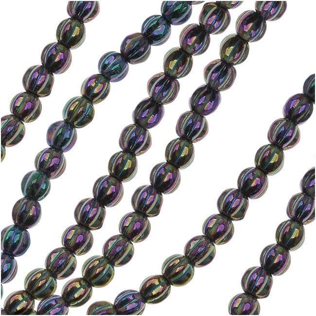 Czech Glass - Round Melon Beads 5mm Diameter 'Purple Iris' (50)