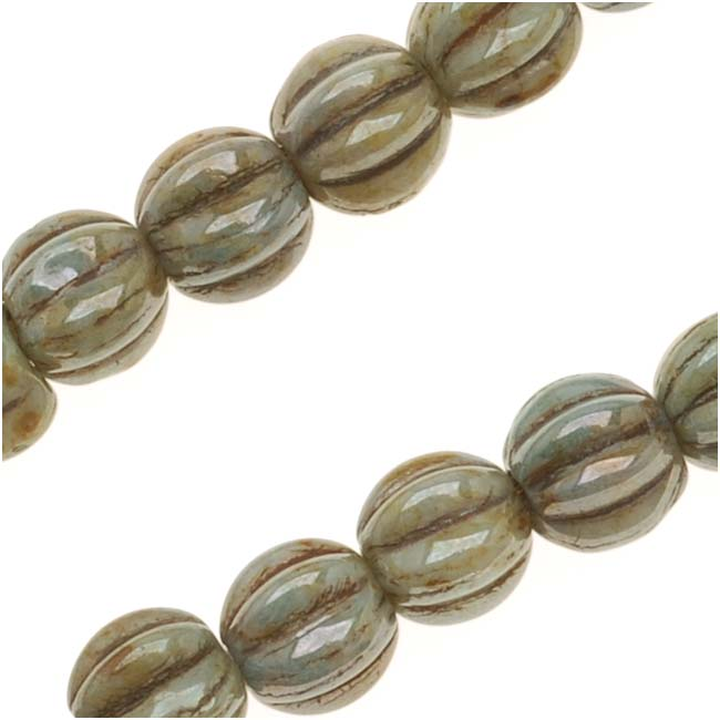 Czech Glass - Round Melon Beads 5mm Diameter 'Opaque Green Luster' (50)