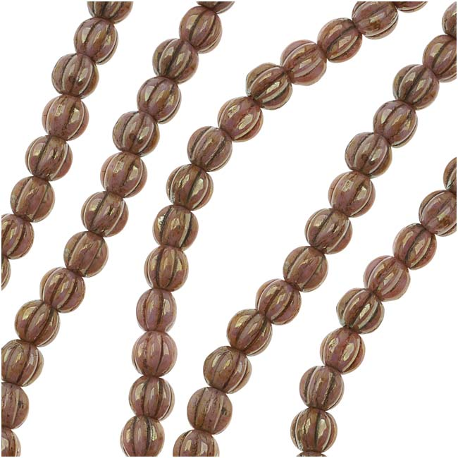 Czech Glass - Round Melon Beads 5mm 'Opaque Rose/Gold Topaz Luster' (50)
