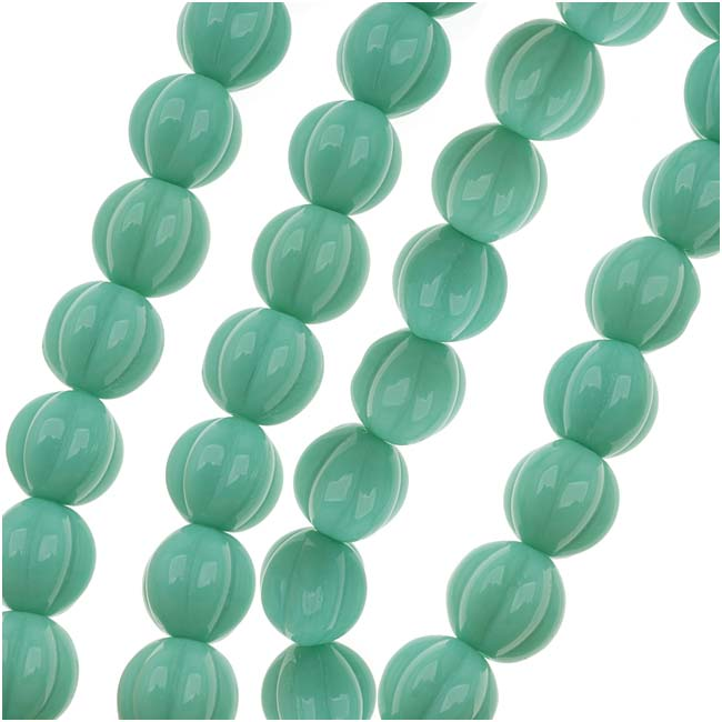 Czech Glass - Round Melon Beads 8mm Diameter 'Turquoise' (25)