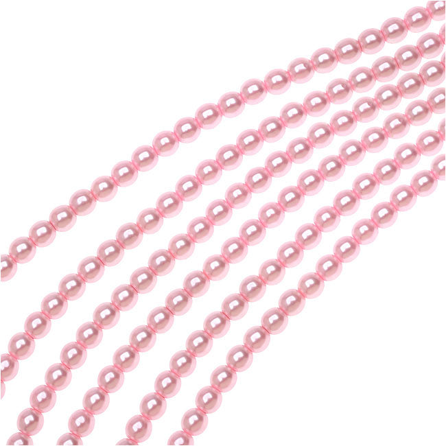 Dazzle It! Czech Glass Pearls, 4mm Round, 1 Strand, Baby Pink