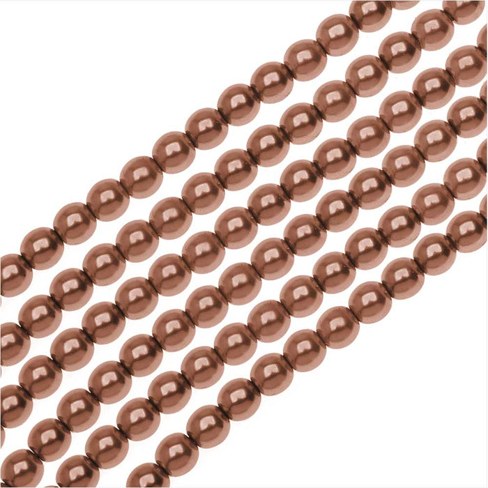 Dazzle It! Czech Glass Pearls, 4mm Round, 1 Strand, Bronze