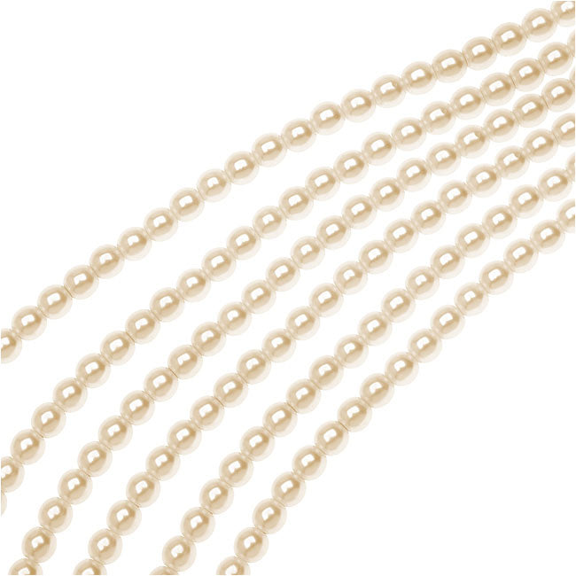 Dazzle It! Czech Glass Pearls, 4mm Round, 1 Strand, Cream