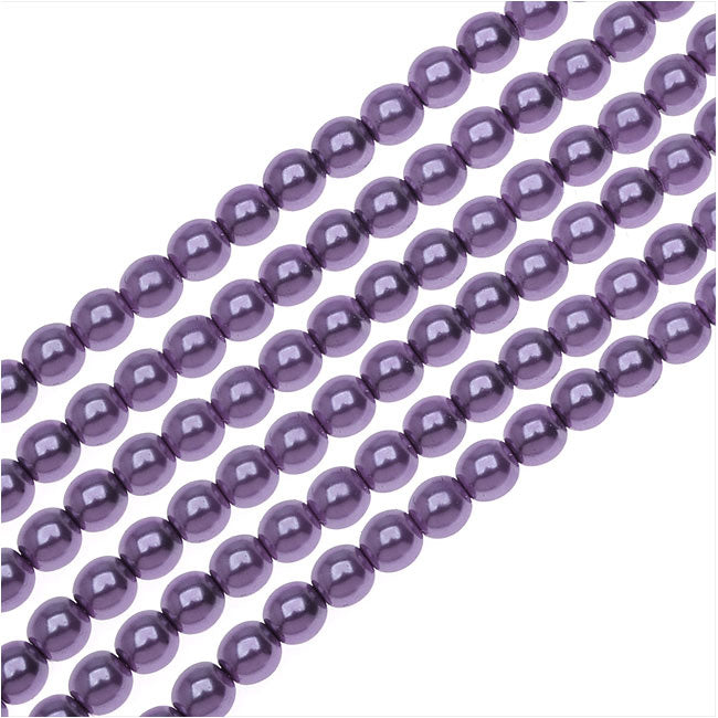 Dazzle It! Czech Glass Pearls, 4mm Round, 1 Strand, Purple