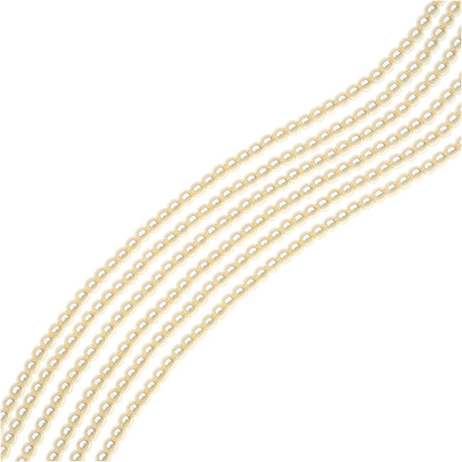 Dazzle It! Czech Glass Pearls, 2mm Round, 1 Strand, Cream