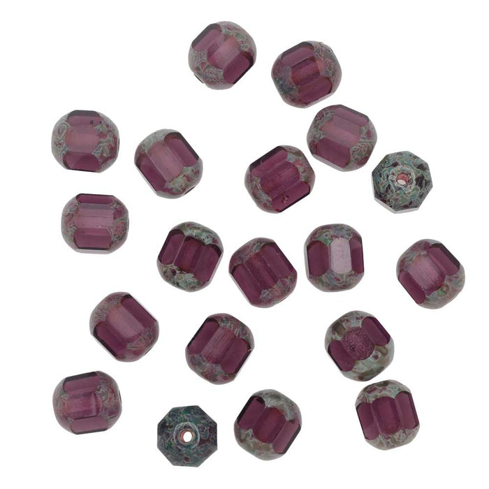 Czech Glass Cathedral Window Beads 8mm Amethyst (12)