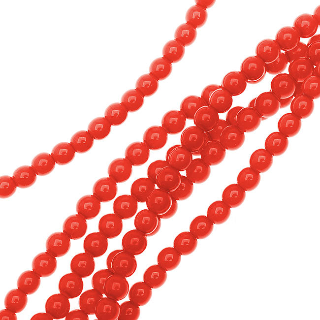 Czech Glass Pastella Collection, Smooth Round Druk Beads 4mm, 1 Strand, Red Fatale