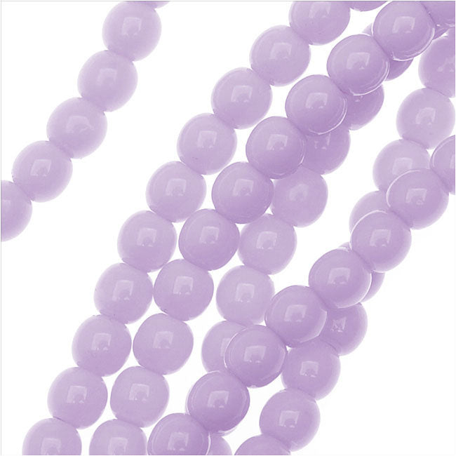 Czech Glass Pastella Collection, Smooth Round Druk Beads 4mm, 1 Strand, Purple