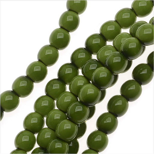 Czech Glass Pastella Collection, Smooth Round Druk Beads 4mm, 1 Strand, Olive Green