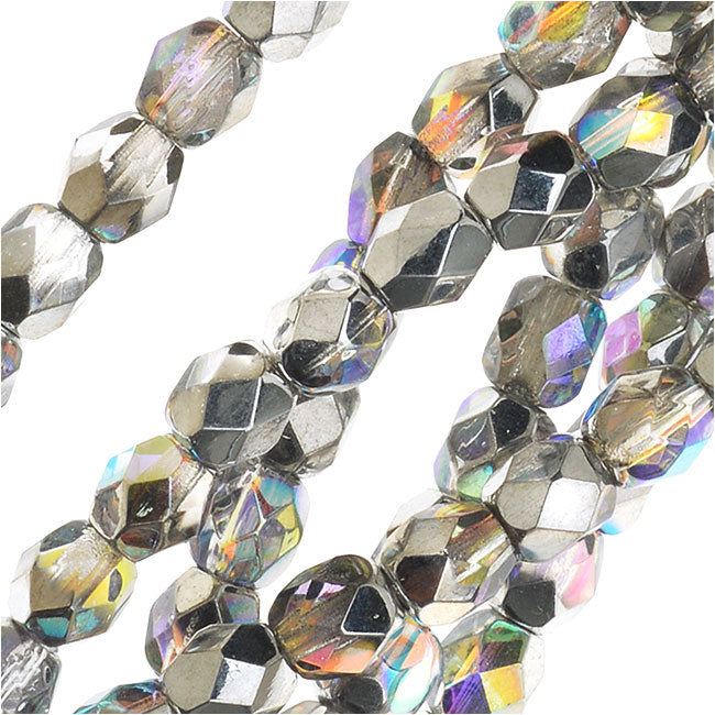 Czech Fire Polished Glass, Faceted Round Beads 4mm, 40 Pieces, Crystal Silver Rainbow