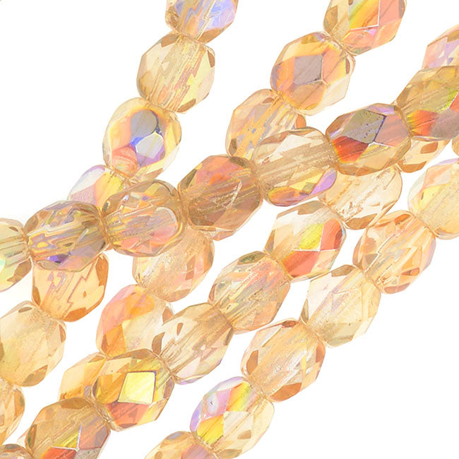 Czech Fire Polished Glass, Faceted Round Beads 4mm, 40 Pieces, Crystal Yellow Rainbow