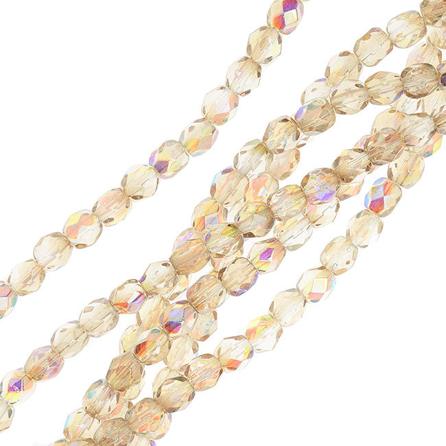 Czech Fire Polished Glass, Faceted Round Beads 4mm, 40 Pieces, Crystal Lemon Rainbow
