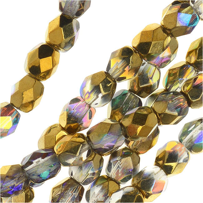 Czech Fire Polished Glass, Faceted Round Beads 4mm, 40 Pieces, Crystal Golden Rainbow