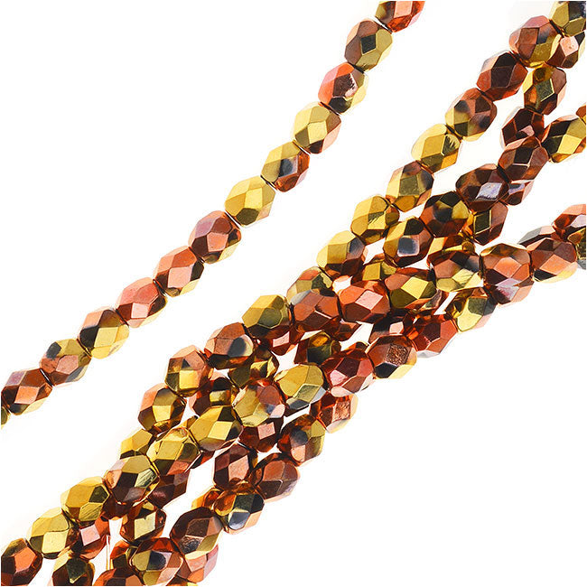 Czech Fire Polished Glass, Faceted Round Beads 4mm, 40 Pieces, Jet California Gold Rush