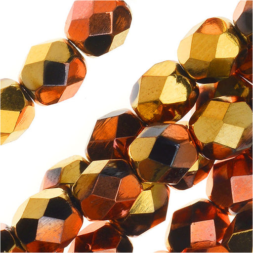 Czech Fire Polished Glass, Faceted Round Beads 6mm, 25 Pieces, Jet California Gold Rush