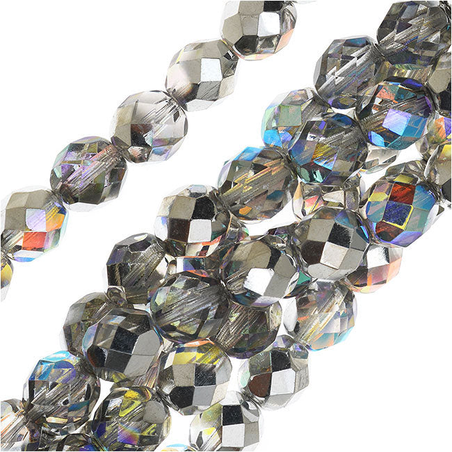 Czech Fire Polished Glass, Faceted Round Beads 8mm, 20 Pieces, Crystal Silver Rainbow