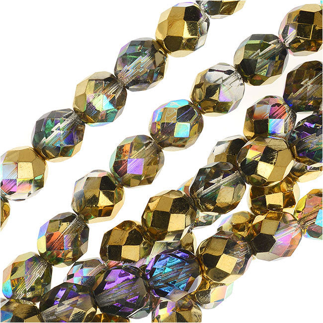 Czech Fire Polished Glass, Faceted Round Beads 8mm, 20 Pieces, Crystal Golden Rainbow