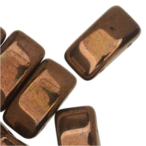 Czech Glass Carrier Beads, 2-Hole Rectangle 9x17mm, 15 Beads, Bronze