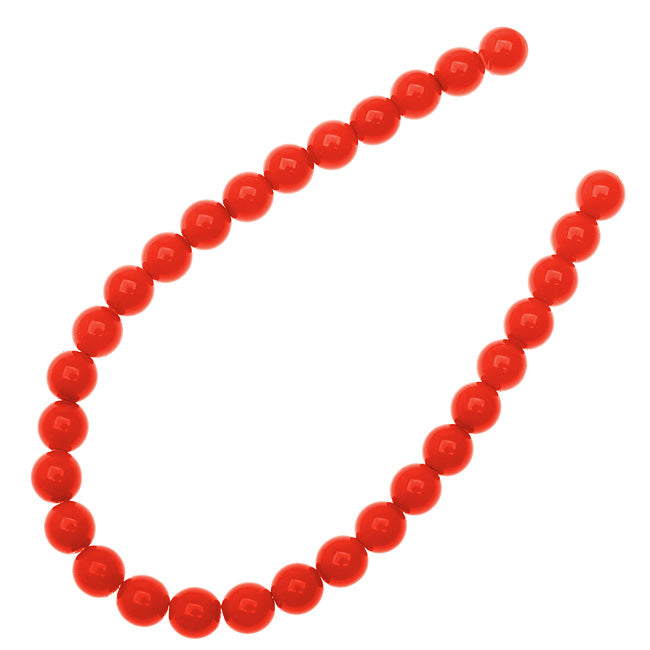 Czech Glass Pastella Collection, Smooth Round Druk Beads 6mm, 1 Strand, Red Fatale