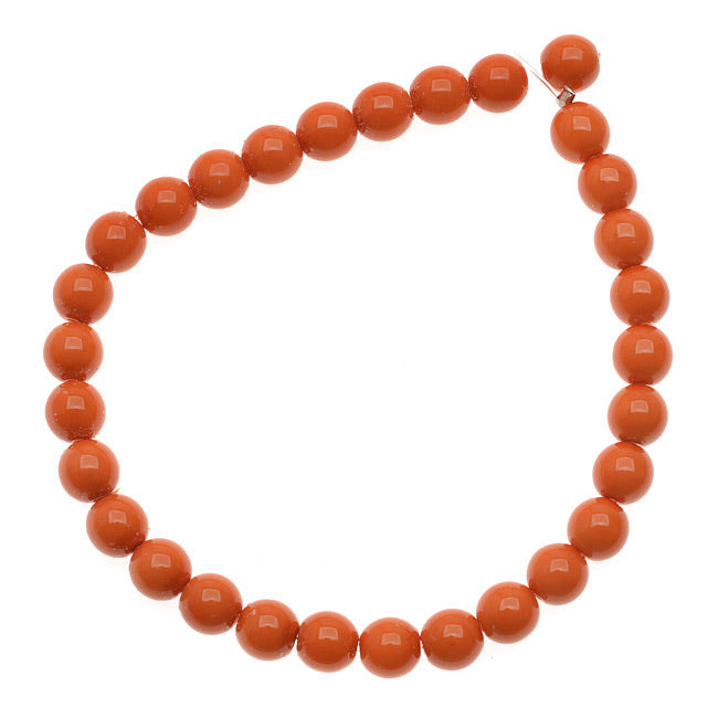 Czech Glass Pastella Collection, Smooth Round Druk Beads 6mm, 1 Strand, Coral