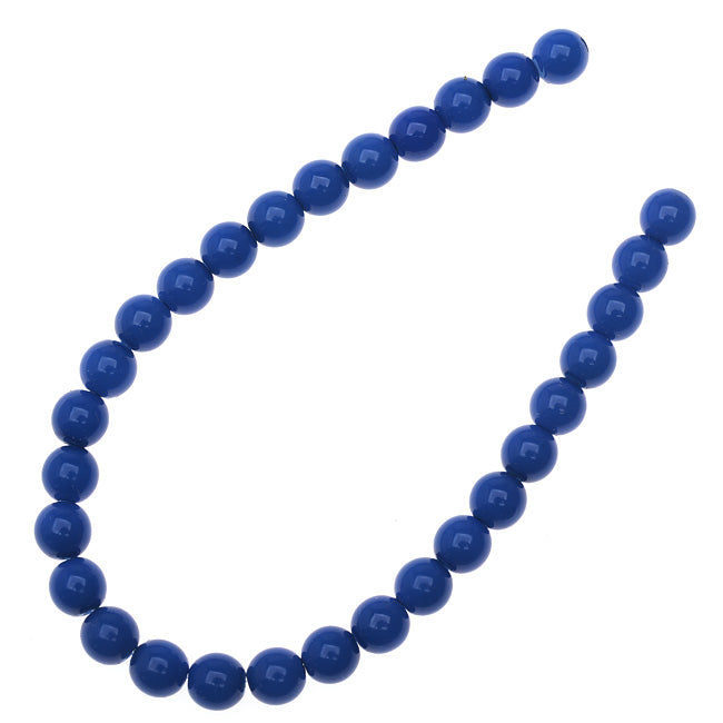 Czech Glass Pastella Collection, Smooth Round Druk Beads 6mm, 1 Strand, Nautical Blue