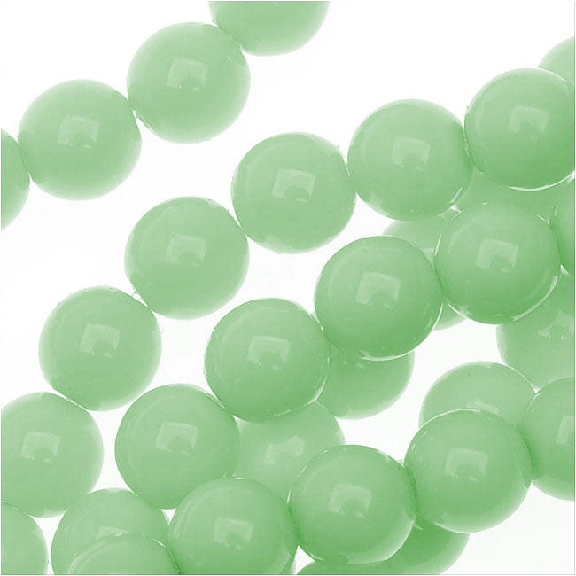 Czech Glass Pastella Collection, Smooth Round Druk Beads 6mm, 1 Strand, Mint Green