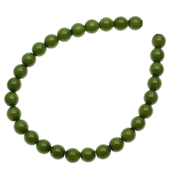 Czech Glass Pastella Collection, Smooth Round Druk Beads 6mm, 1 Strand, Olive Green